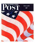 """Old Glory "" Saturday Evening Post Cover  July 4  1942"