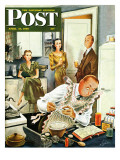 """Gourmet Cook "" Saturday Evening Post Cover  April 13  1946"