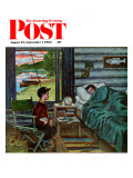 """Dad  the Fish are Biting "" Saturday Evening Post Cover  August 25  1962"