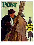 &quot;Bass Fiddle at Bus Stop &quot; Saturday Evening Post Cover  January 22  1944
