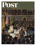 """Joint Session of Congress "" Saturday Evening Post Cover  January 7  1950"