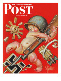 """Baby New Year at War "" Saturday Evening Post Cover  January 2  1943"