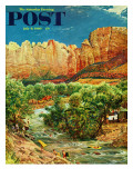 """Zion Canyon "" Saturday Evening Post Cover  July 9  1960"
