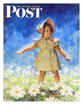 """Daisy Among Daisies "" Saturday Evening Post Cover  August 21  1943"