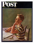 """Future Author "" Saturday Evening Post Cover  February 9  1946"