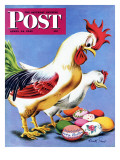 """Easter Eggs and Chickens "" Saturday Evening Post Cover  April 24  1943"