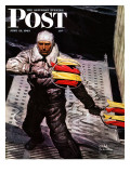 """Flight Controller on Aircraft Carrier "" Saturday Evening Post Cover  June 12  1943"