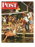 """Wet Camp Counselor "" Saturday Evening Post Cover  August 27  1949"