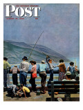 """Pier Fishing "" Saturday Evening Post Cover  August 13  1949"