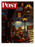"""Rocking Horse Delivery "" Saturday Evening Post Cover  December 22  1945"