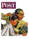 """Comical Haircut "" Saturday Evening Post Cover  February 27  1943"