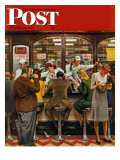 """Lunch Counter "" Saturday Evening Post Cover  October 12  1946"