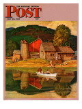 """Farm Pond Landscape "" Saturday Evening Post Cover  July 28  1945"