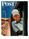"""Freight Train Engineer "" Saturday Evening Post Cover  June 3  1944"