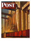"""Boxcars at Grain Elevators "" Saturday Evening Post Cover  October 4  1947"