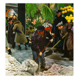 """Shoveling Floral Shop Sidewalk "" February 28  1948"