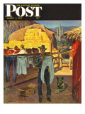 """Cowboy Hanging Out His Laundry "" Saturday Evening Post Cover  March 1  1947"