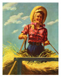 """Woman Driving Hay Wagon "" August 14  1943"