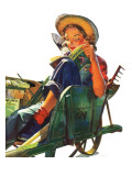 """Gardener in Wheelbarrow "" May 10  1941"