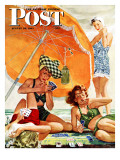 """Card Game at the Beach "" Saturday Evening Post Cover  August 28  1943"