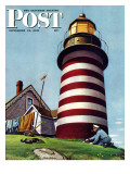 &quot;Lighthouse Keeper &quot; Saturday Evening Post Cover  September 22  1945