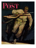 """Night Attack "" Saturday Evening Post Cover  February 20  1943"