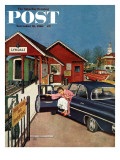 """Flat Tire at the Commuter Station "" Saturday Evening Post Cover  November 26  1960"
