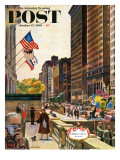 """Michigan Avenue  Chicago "" Saturday Evening Post Cover  October 15  1960"