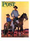 &quot;Surveying the Ranch &quot; Saturday Evening Post Cover  August 19  1944