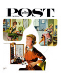 """Eavesdropping Operator "" Saturday Evening Post Cover  April 7  1962"