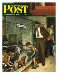 """Dog Pound "" Saturday Evening Post Cover  September 17  1949"
