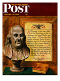 """Bust of Franklin "" Saturday Evening Post Cover  January 15  1949"