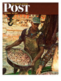 """Shrimpers "" Saturday Evening Post Cover  October 25  1947"