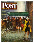 """Rainy Wait for a Cab "" Saturday Evening Post Cover  March 29  1947"