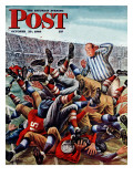 &quot;Football Pile-up &quot; Saturday Evening Post Cover  October 23  1948
