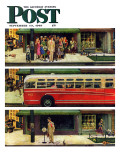 """Missed the Bus "" Saturday Evening Post Cover  September 10  1949"