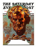 """Re -print of ""Bronze Lincoln"" "" Saturday Evening Post Cover  February 1  1976"