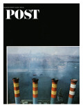 """Smoke Stacks "" Saturday Evening Post Cover  October 8  1966"