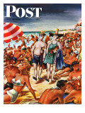 """Palefaces at the Beach "" Saturday Evening Post Cover  July 27  1946"