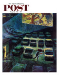 &quot;Drive-In Movie in the Rain &quot; Saturday Evening Post Cover  May 13  1961