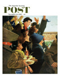 """Yale vs Harvard "" Saturday Evening Post Cover  November 19  1960"