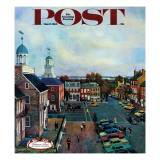 &quot;Town Square  New Castle Delaware &quot; Saturday Evening Post Cover  March 17  1962