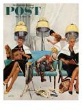 """Cowboy Asleep in Beauty Salon,"" Saturday Evening Post Cover, May 6, 1961 Giclée par Kurt Ard"