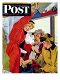 """Showing Off Her Ring "" Saturday Evening Post Cover  January 22  1949"