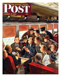 """Commuter Card Game "" Saturday Evening Post Cover  March 15  1947"