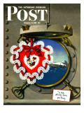 """Valentine's Day at Sea "" Saturday Evening Post Cover  February 13  1943"