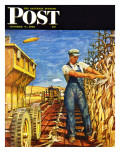 """Corn Harvest "" Saturday Evening Post Cover  October 9  1948"