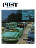 """Drive-In Movies "" Saturday Evening Post Cover  August 19  1961"