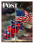 """Allied Forces Flags "" Saturday Evening Post Cover  July 3  1943"