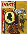 &quot;Commemorating George Washington &quot; Saturday Evening Post Cover  February 24  1945